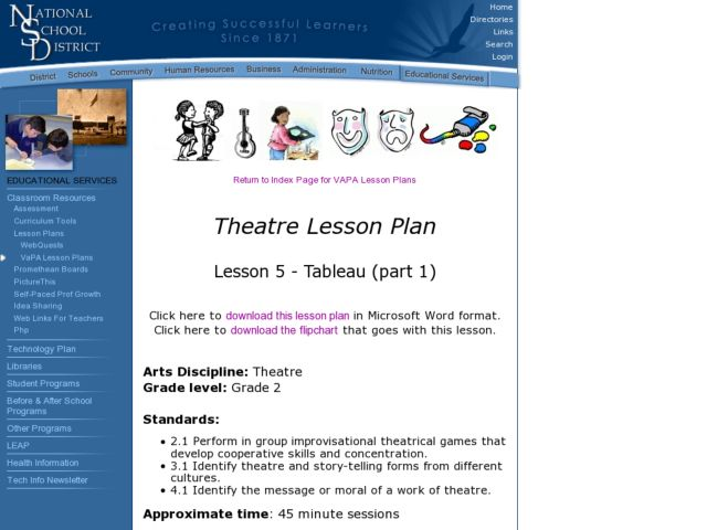 Tableau Lesson Plan for 2nd Grade | Lesson Planet