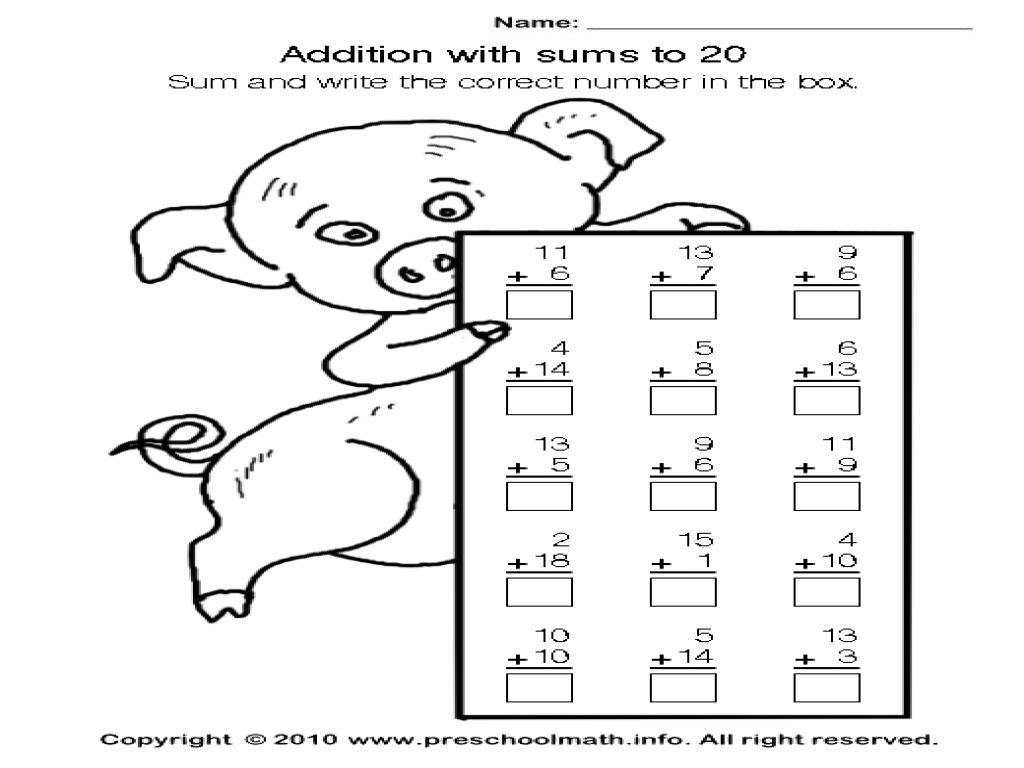 Addition to 20: Practice Worksheet