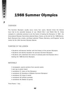 1988 Summer Olypmics Lesson Plan