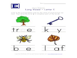 long vowel letter e worksheet for pre k 1st grade lesson planet. Black Bedroom Furniture Sets. Home Design Ideas