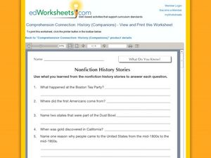 Nonfiction History Stories Worksheet