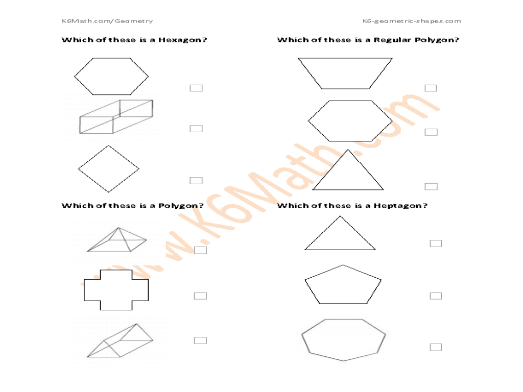 identifying geometric shapes hexagon polygon or heptagon worksheet for 5th 6th grade. Black Bedroom Furniture Sets. Home Design Ideas