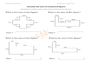 Calculate the Area of Compound Figures Worksheet for 6th - 8th Grade ...