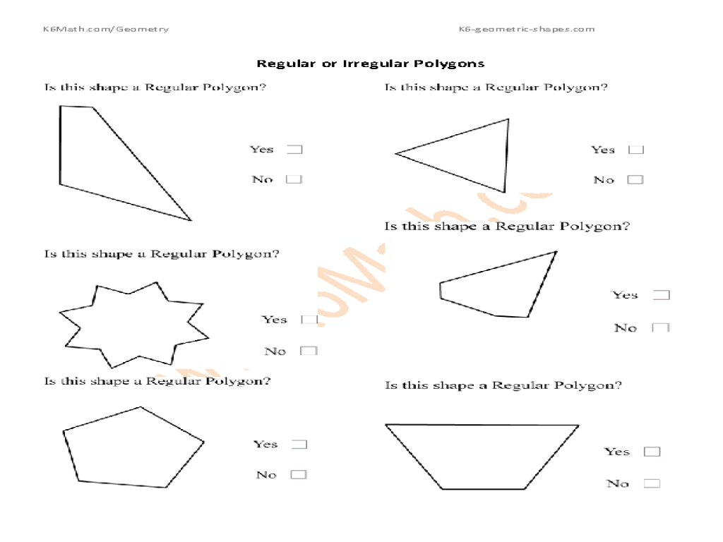 Worksheets Area Of Regular Polygons Worksheet regular or irregular polygons 3rd 4th grade worksheet lesson planet
