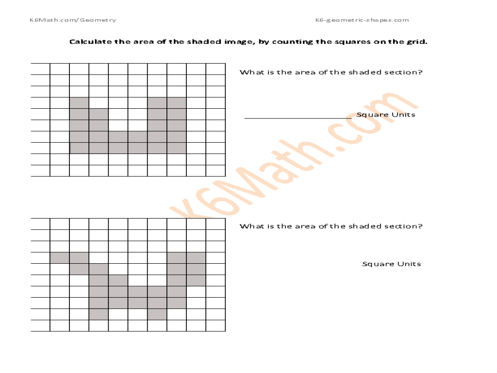 Calculate the Area of Shaded Squares Worksheet for 2nd