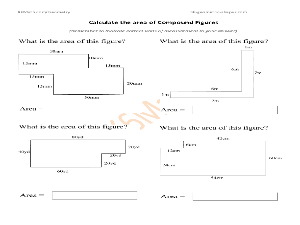 Calculate Area of Compound Figures 5th 6th Grade Worksheet – Area of Complex Figures Worksheet