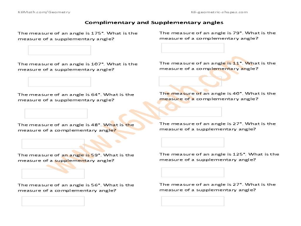 Worksheet Complementary And Supplementary Angles Worksheet