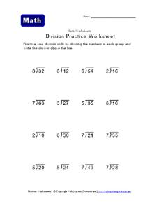 Division Practice Worksheet Worksheet