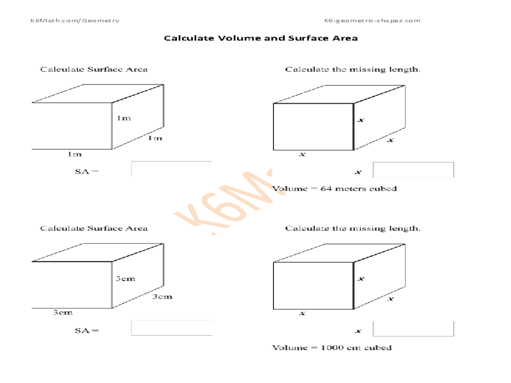Calculate Volume And Surface Area Cubes Worksheet For 7th
