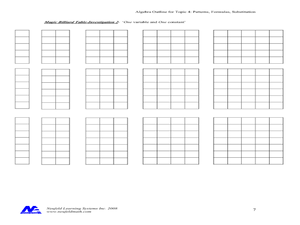 Algebra Patterns Toothpicks Lesson Plans & Worksheets