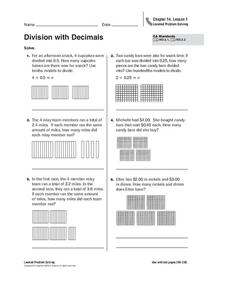 Division with Decimals Worksheet