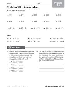 Division with Remainders Worksheet