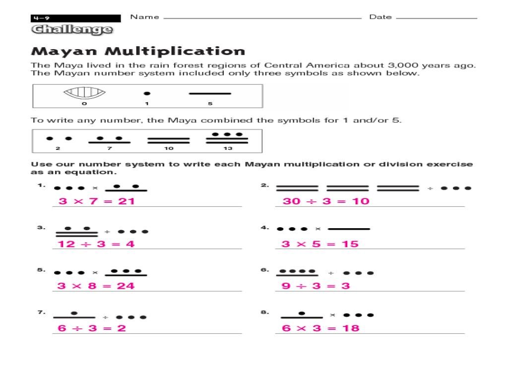Mayan Math Worksheet Answers – Mayan Math Worksheet
