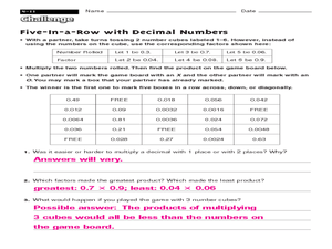 Challenge: Five in a Row with Decimal Numbers Worksheet