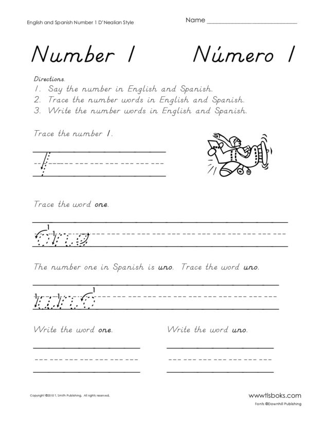 D 39 Nealian Handwriting English Spanish Numbers 1 15