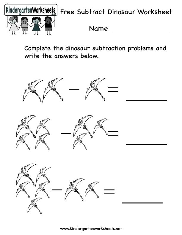 free subtract dinosaur worksheet worksheet for kindergarten 1st grade lesson planet. Black Bedroom Furniture Sets. Home Design Ideas