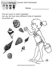 Collecting Different Seashells Worksheet for Kindergarten