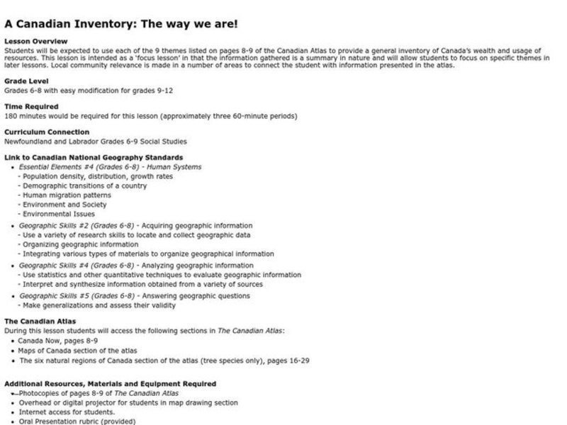 A Canadian Inventory: The Way We Are! Lesson Plan
