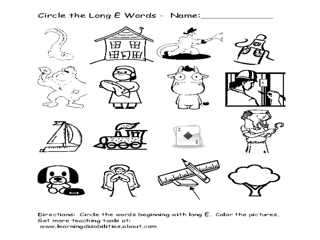 Finding the Pictures of Long E Words Worksheet for 1st
