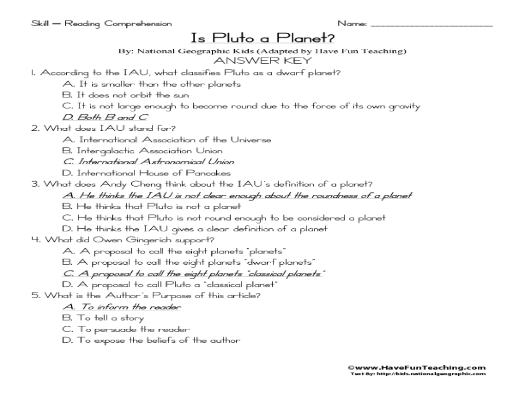 - Reading Comprehension: Is Pluto A Planet? Worksheet For 2nd - 3rd