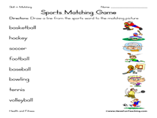 sports matching game worksheet for 1st 3rd grade lesson planet. Black Bedroom Furniture Sets. Home Design Ideas