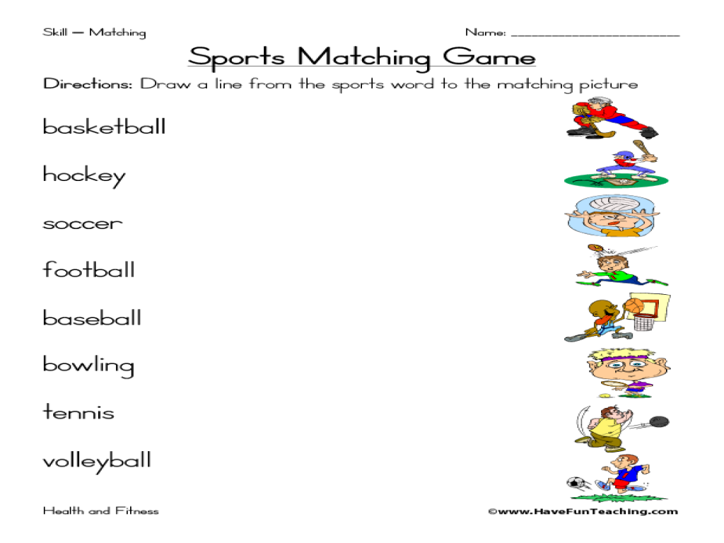 sports matching game worksheet for 1st 3rd grade. Black Bedroom Furniture Sets. Home Design Ideas