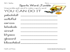 sports word jumble worksheet for 4th 5th grade lesson planet. Black Bedroom Furniture Sets. Home Design Ideas