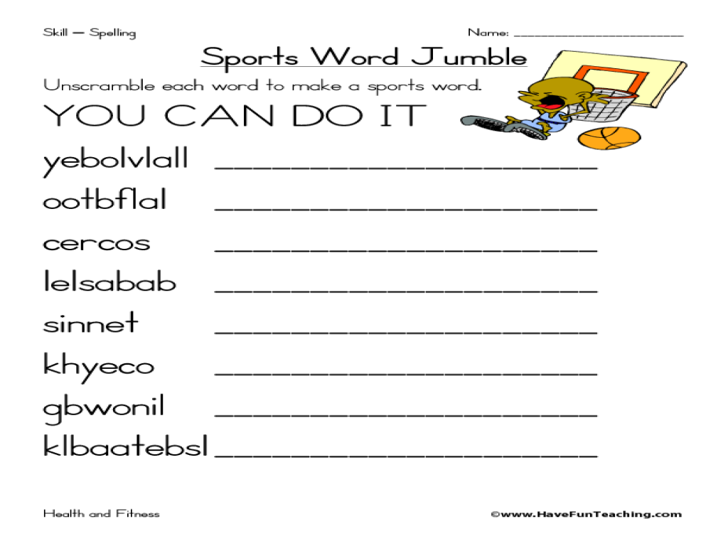 sports word jumble worksheet for 4th 5th grade lesson planet. Black Bedroom Furniture Sets. Home Design Ideas