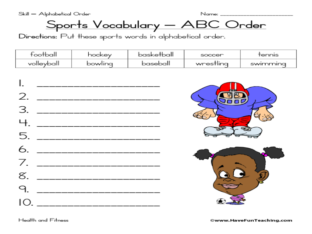 sports vocabulary abc order 2nd 3rd grade worksheet lesson planet