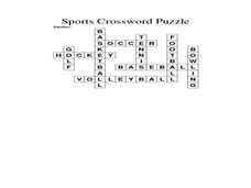 Crossword Puzzle About Sports Worksheet