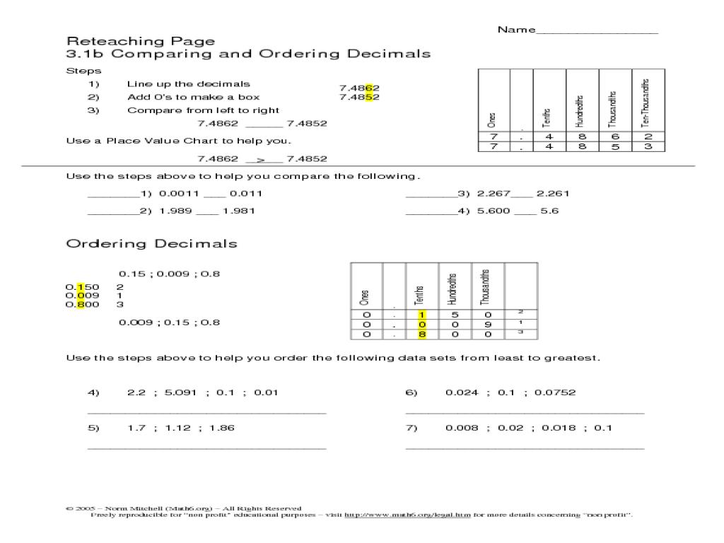 comparing and ordering decimals worksheet  oaklandeffect reteaching page comparing and ordering decimals