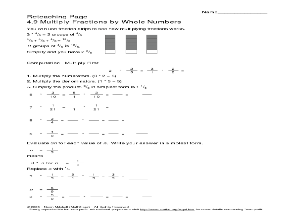 Reteaching Page: 4.9 Multiply Fractions by Whole Numbers Worksheet