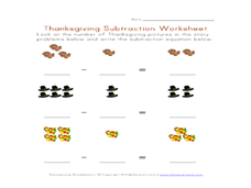 Thanksgiving Subtraction Worksheet Worksheet