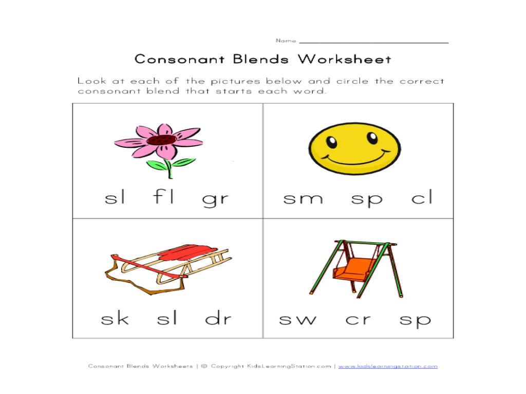 Consonant Blends Activity Worksheet For Kindergarten 1st