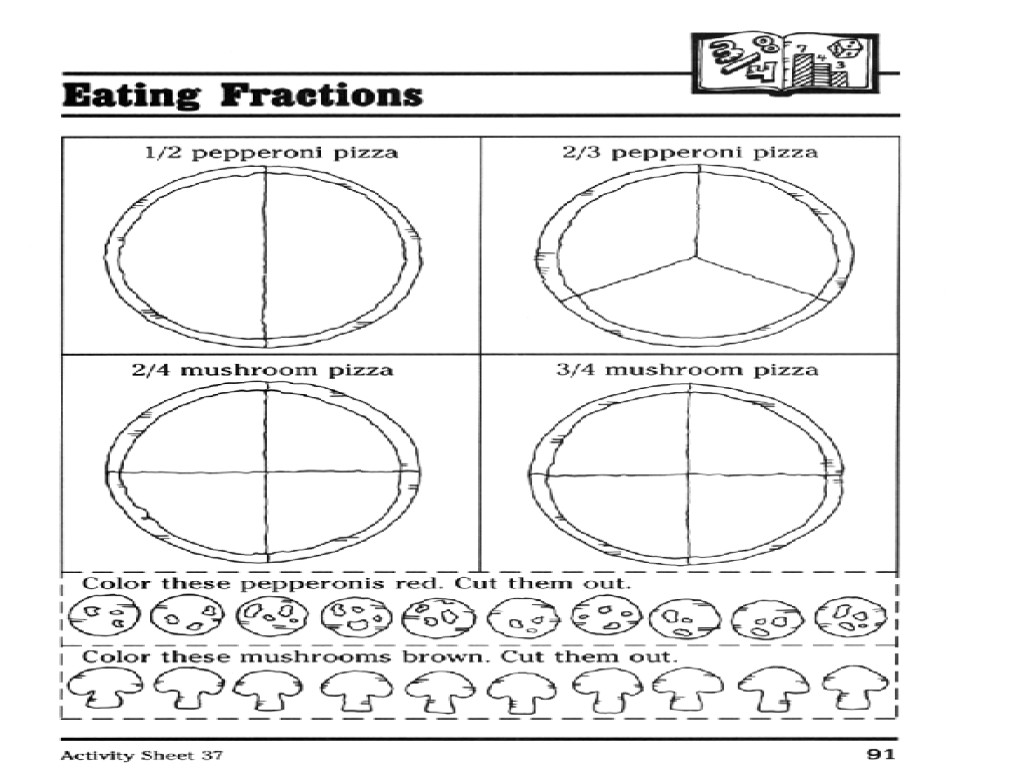 eating fractions pizza party worksheet for 3rd grade lesson planet. Black Bedroom Furniture Sets. Home Design Ideas