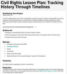 Civil Rights Lesson Plan: Tracking History Through Timelines Lesson Plan