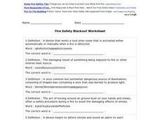 Fire Safety Blackout Worksheet Worksheet