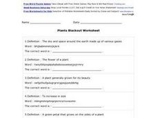 Plants Blackout Worksheet Worksheet