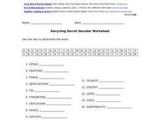 Recycling Secret Decoder Worksheet Worksheet