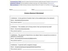 Science Blackout Vocabulary Worksheet