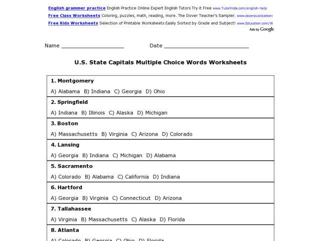 image about State Capitals Quiz Printable Multiple Choice named U.S. Place Capitals Various Alternative Sport Worksheet for