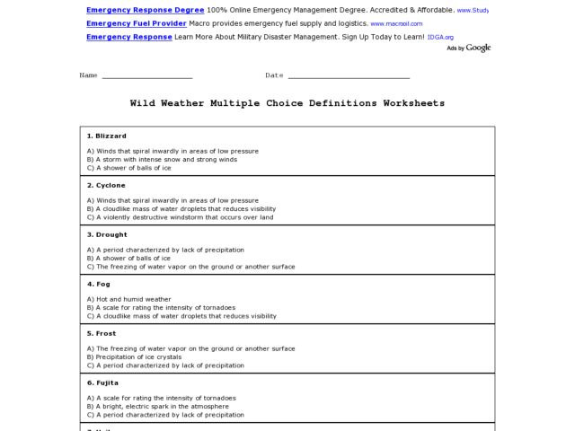 wild weather multiple choice definitions worksheet worksheet for 3rd 6th grade lesson planet. Black Bedroom Furniture Sets. Home Design Ideas
