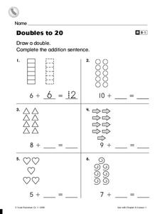 Doubles to 20 Worksheet