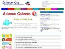 States of Matter Quiz Worksheet for 3rd - 6th Grade | Lesson Planet