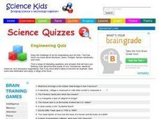 Science Quizzes: Engineering Quiz Worksheet