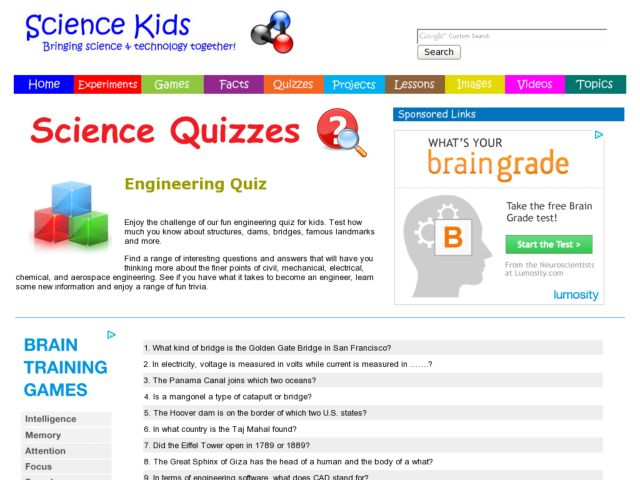 Science Quizzes: Engineering Quiz Worksheet for 5th - 10th Grade