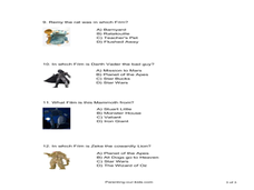 Film Character Picture Quiz Worksheet