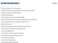 Art and Literature Quiz 2 Worksheet