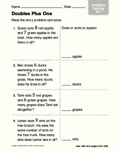 Doubles Plus One Worksheet For 1st 2nd Grade Lesson Planet
