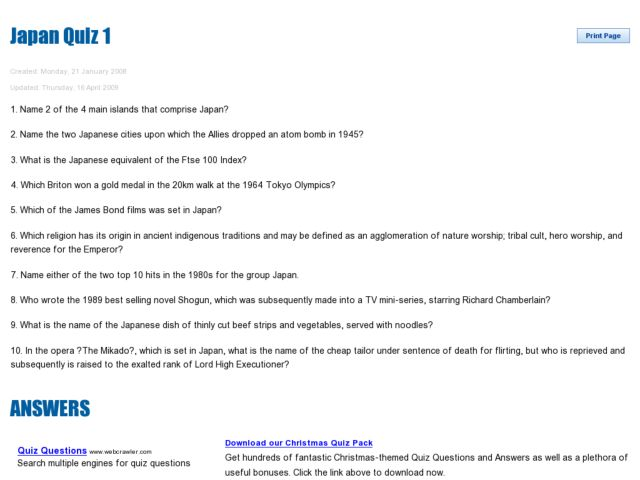 Japan Quiz 1 Worksheet for 7th - 8th Grade | Lesson Planet